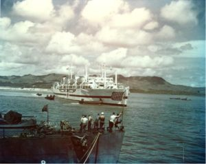 USS Tranquility at Guam with USS Indianapolis Survivors