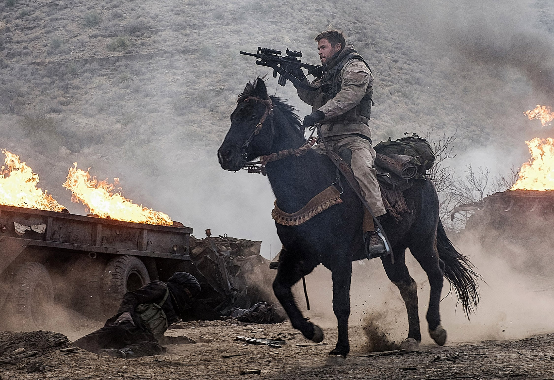 "CHRIS HEMSWORTH as Captain Nelson in Jerry Bruckheimer Films', Black Label Media' and Alcon Entertainment's war drama ""12 STRONG,"" a Warner Bros. Pictures release. Photo by David James"